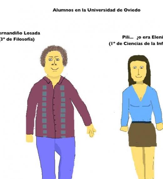 Alumnos de la universidad: Fernandiño Losada (3º de Filosofía) y Pili... ¿o era Elenita? (1º de Ciencias de la Información)