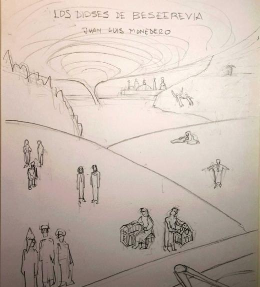 Boceto de la portada del libro Los dioses de Beseerevia de Juan Luis Monedero