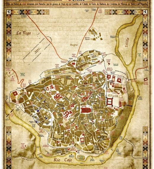 Plano del Toledo medieval del siglo XIII. Imagen de la Catedral Santa María la Mayor y el Alcázar circundados por el río Tajo.
