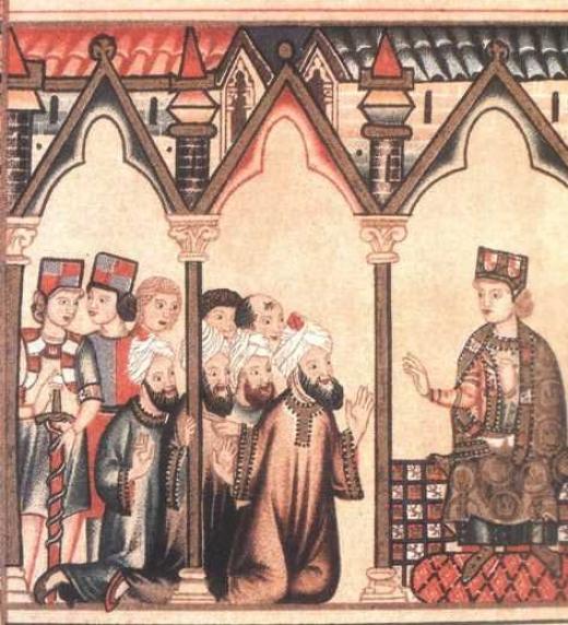 Alfonso, El Rey Sabio, conversando sobre astronomía con sabios musulmanes. Toledo siglo XIII