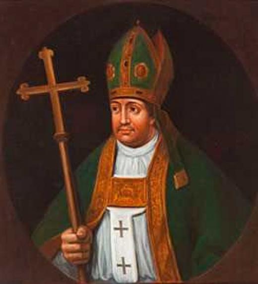Retrato del arzobispo toledano Ximénez de Rada. Escribió la primera crónica histórica de España. Puso la primera piedra de la Catedral de Toledo. Peleó contra los musulmanes espada en mano en las Navas de Tolosa.