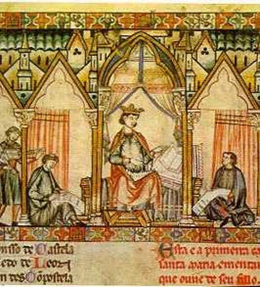El Rey Alfonso X redactando Las Siete Partidas