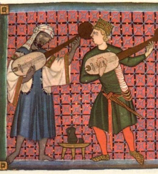 El músico G.Riquier tocando junto a un musulmán. Alfonso X, El Sabio, estaba fascinado por su arte.