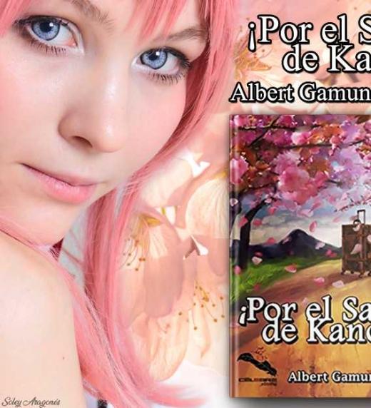 Banner publicitario de la novela ¡Por el Sake de Kano! de Albert Gamundi Sr. creado por la diseñadora gráfica y novelista Soley Aragonés Rieke.