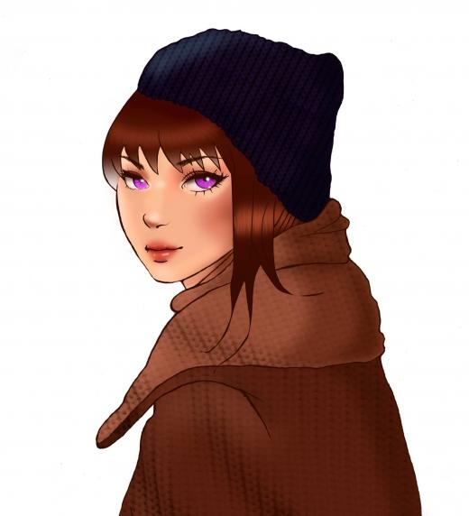 Ella es Meri, la chica de los ojos morados de la que todos hablan. Frágil, tímida y buena persona que esconde un gran secreto.