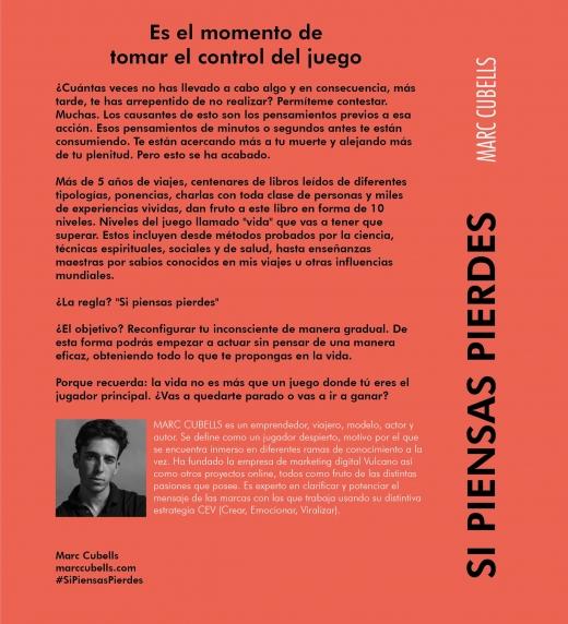 """Contraportada libro """"Si piensas pierdes. El juego"""" de Marc Cubells"""