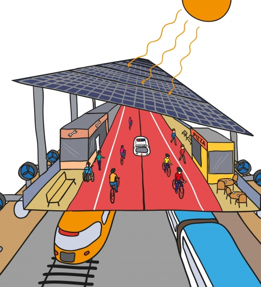 Propuesta de sistemas elevados  con carriles ciclopeatonales sobre las vías del tren para generar energía al tiempo que es un centro comercial abierto con objetivo de fijar población rural al tiempo que se genera energía.