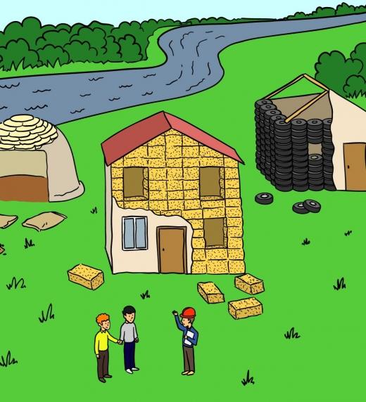 Construcción con superadobe,  balas de paja o neumáticos usados de viviendas bioclimáticas que se proponen en el libro ¡ Repuebla !