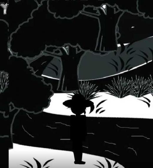 """Imagen del cuento """"Horizonte"""" del libro de Tiempos Invisibles de Ana Matías Rendón. La imagen corresponde al protagonista frente al río del tiempo."""
