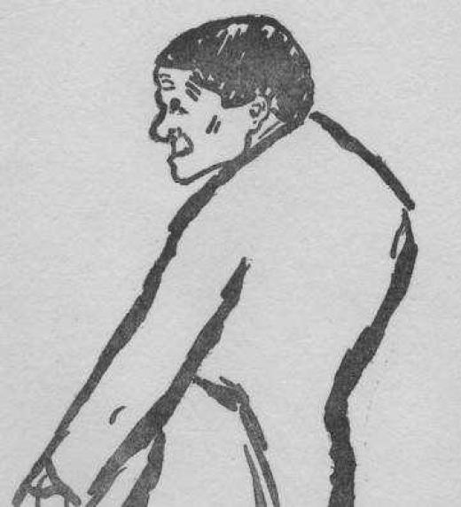 Caricatura simiesca del infante Luis Fernando de Orleans realizada por Rouvyeire