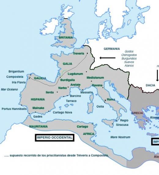 Partición del imperio romano tras la muerte de Teodosio.