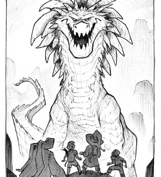 Joc, Tin, Gonzo y Gep frente al dragón de las cavernas.