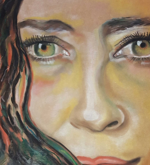 Autorretrato de  María, mujer valiente y llena de coraje, que lucha por conseguir su lugar en el mundo del arte y en la vida, a pesar de sufrir las consecuencias de sus errores pasados.   Protagonista de la novela Las palabras calladas.