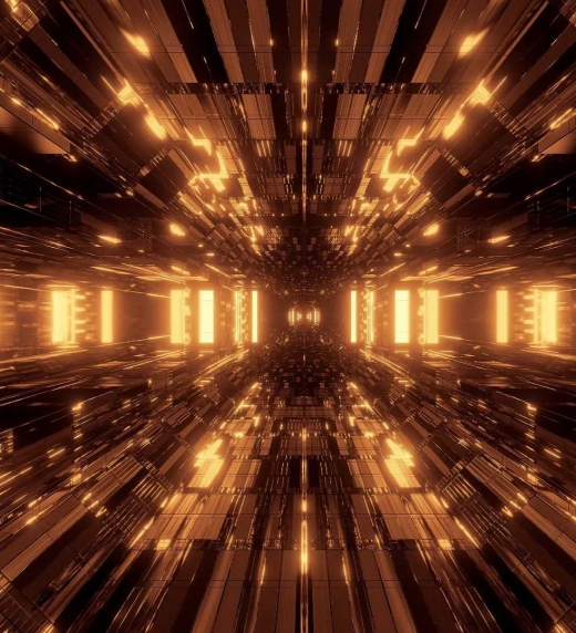 Túnel iluminado hecho en el futuro cuyo punto de inicio y de final se desconoce