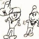 Primera ilustración de los personajes por Marcela Fahsen a la edad de 7 años