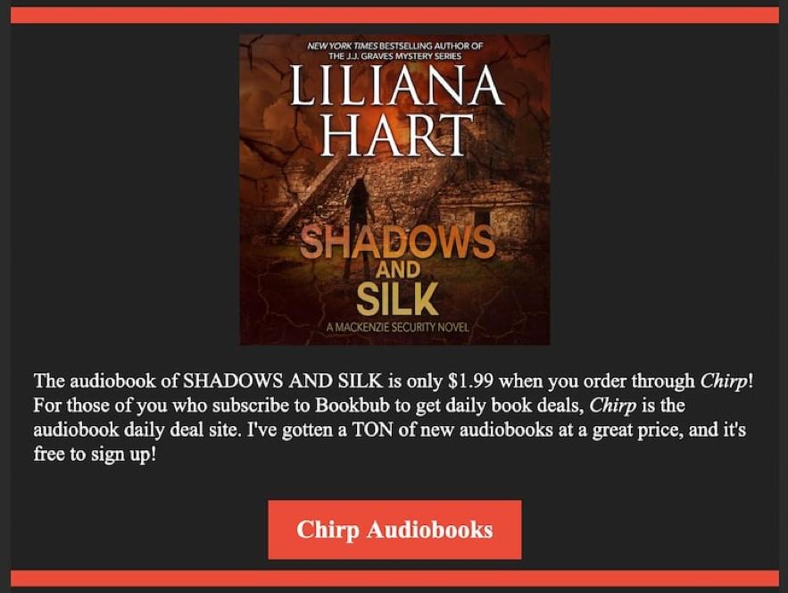 Liliana Hart promociona su audiolibro en Chirp